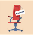 cartoon office chair with sign vacant flat hire vector image