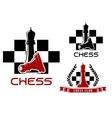Chess club icons with queen and pawn vector image vector image