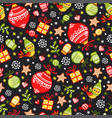 christmas pattern with gifts and toys on a black vector image