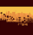 city skyline silhouette at sunset vector image