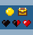 coin and heart pixel game award icon vector image
