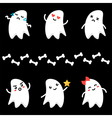 Cute little cartoon ghosts characters vector image
