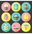 Easter flat styled circle icon set 1 with long vector image vector image