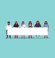 fat overweight people group holding empty placard vector image vector image
