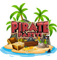 font design for word pirate with gold on the vector image