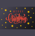 gift card with red hand lettering merry christmas vector image vector image