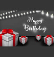 happy birthday design with lamp and gift box for vector image