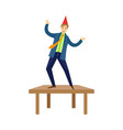happy man dancing on office at corporate party vector image vector image