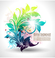 invitation card with colored floral ornament vector image vector image