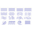 large set water icons showing waves and surf vector image
