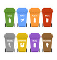 multicolored recycle waste bins on wheels for vector image vector image