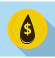 Oil drop and dollar symbol icon flat style vector image