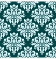 Ornate blue bold damask pattern vector image