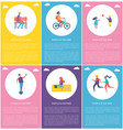 people in park poster children ball segway runner vector image