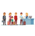 people queue in airport at registration desk vector image vector image
