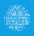 plug-in hybrid round in thin vector image vector image