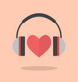 red heart with headphones vector image