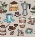 seamless pattern with coffee party collection vector image vector image