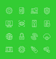 security and protection cybersecurity line icons vector image