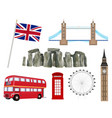set icon and landmark united kingdom england vector image