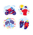 set motorcycle racing in a flat vector image