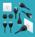 set od plugs and sockets type i used in australia vector image vector image