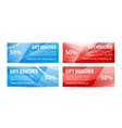 set of gift vouchers with wavy shiny blue vector image