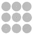 set of monochrome geometric textures in circles vector image