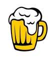 Tankard of golden beer with a frothy head vector image vector image