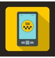 Taxi app in phone icon flat style vector image