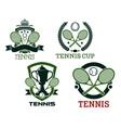 Tennis icons and symols with rackets balls net vector image vector image
