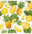 tropical palm leaves pineapple fruit seamless vector image vector image