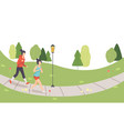 two girls running in park young women doing vector image vector image
