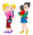 two happy mother holding her child vector image vector image