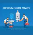 two plumbers repair pipe and boiler maintenance vector image vector image
