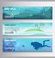 underwater horizontal banners vector image vector image