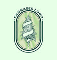 vintage weed logo cannabis badge vector image vector image