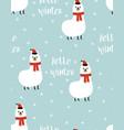 winter pattern with cute llama vector image