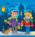 winter person cartoon image 3 vector image
