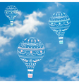 with decorative hot air ballons in blue sky vector image vector image
