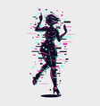 young girl silhouette with glitch style effect vector image vector image