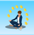 young yoga position business woman relaxing vector image vector image