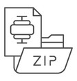zip folder thin line icon archiving folder vector image vector image