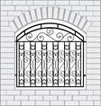 Iron fence black with white bricks vector image