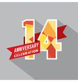 14th Years Anniversary Celebration Design vector image