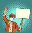 a man in a medical mask protests vector image vector image