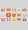 animals face stickers cute animal faces kawaii vector image vector image