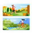 banners with baseball man and girl on bike vector image vector image