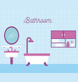 bathroom bath shower sink and mirror cabinet vector image vector image