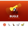 Bugle icon in different style vector image